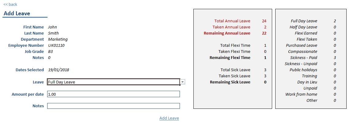 Add Leave screen allows you to enter information about the annual leave