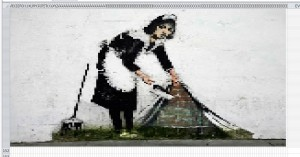 Banksy Maid Sweeping Under The Carpet in Excel