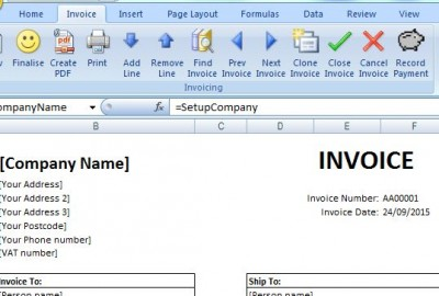 Invoicing tool Excel ribbon