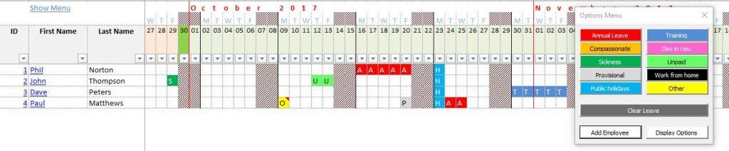 Calendar Leave Planner : Staff annual leave calendar premium version excel macros