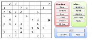 Screenprint of the Sudoku puzzle creator