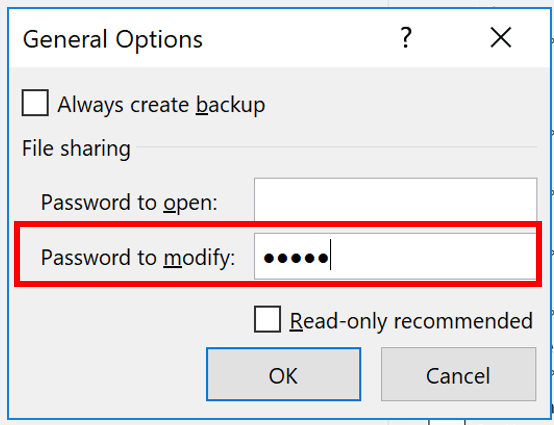 General options - password to modify or open Excel file. Read-only recommended.