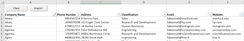 Import your customer prospects in Excel