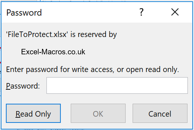 File is reserved. Enter password for write access, or open read only.