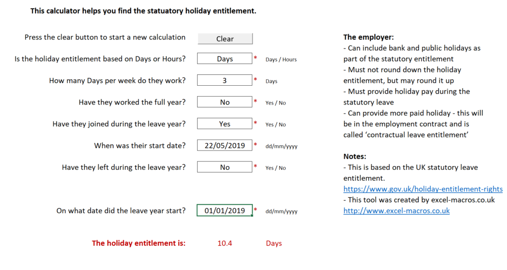 Calculation of statutory holiday entitlement for full time and part time employees in the UK.
